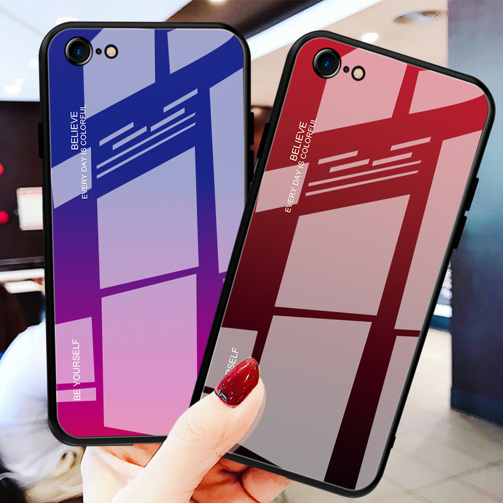 luxury tempered gradient stained glass phone case for iphone 11  lot pro max x xr xs 8 7 6 6s plus cover soft edge drop protectFitted  Cases