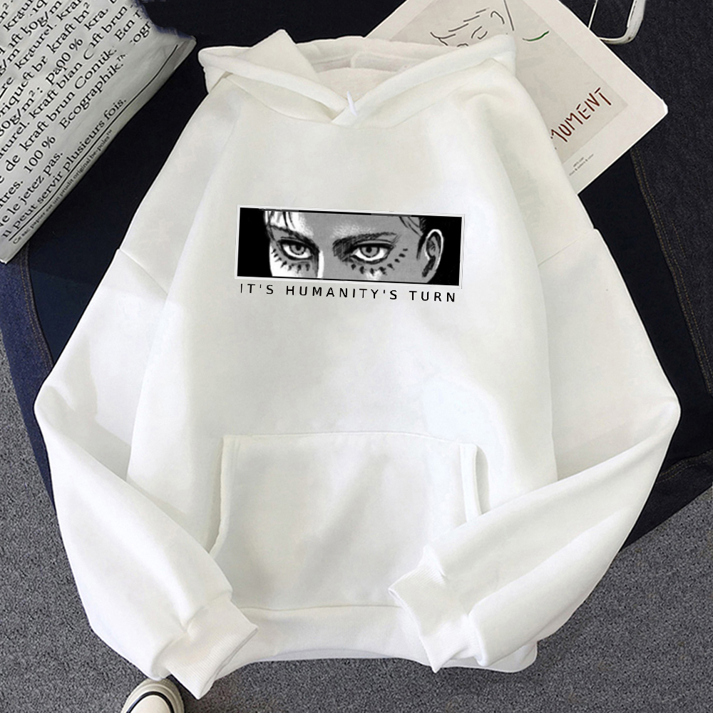 Anime Attack on Titan Hoodie Eren Yeager Print Classic Sweatshirts Funny Cartoon Harajuku Womens Mens Hip Hop Streetwear Jacket 17