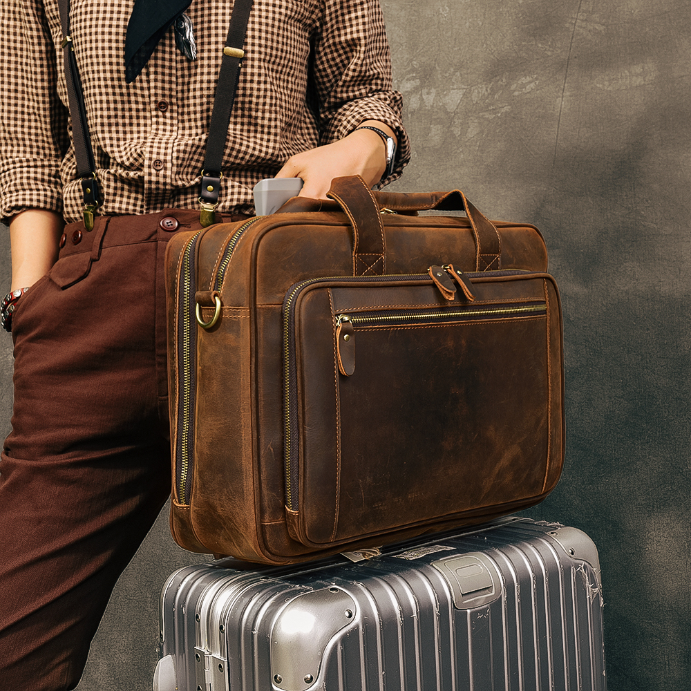 Fashion Brand Business Men Briefcase Bag Genuine Leather Laptop Bag Casual Man Bag Shoulder Bags Weekend Bag