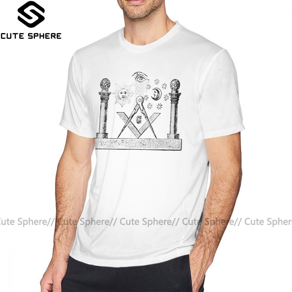 Masonic Symbols T Shirt SYMBOLS OF MASONRY T-Shirt Oversized Men Tee Shirt Fashion Awesome Short Sleeves Printed Tshirt