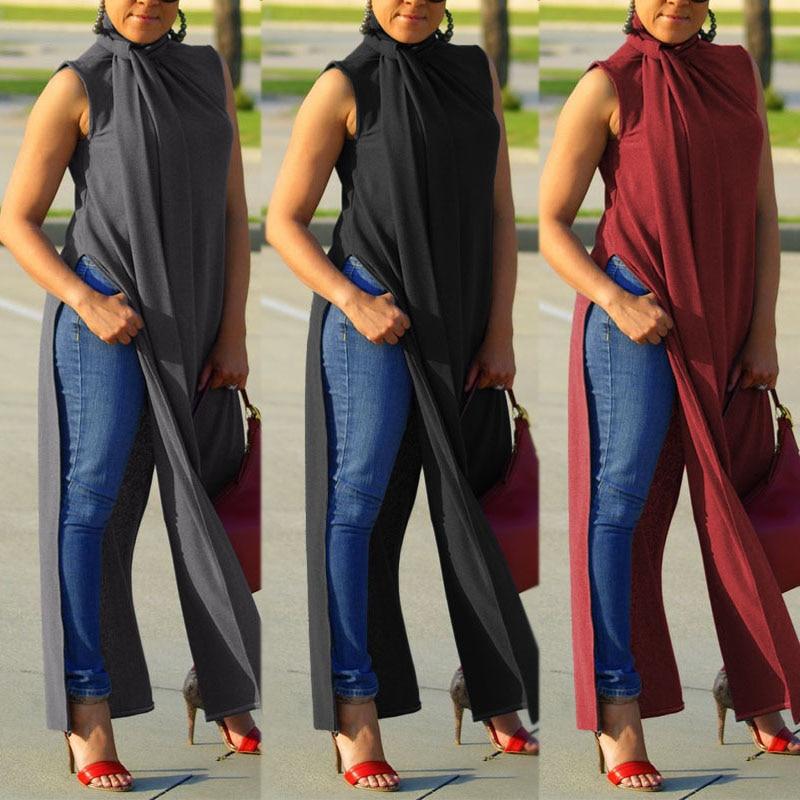 Womens Split Blouse ZANZEA Elegant Summer Long Tops Sleeveless Casual Shirt Female Button Turtleneck Blusas Plus Size Chemise 7
