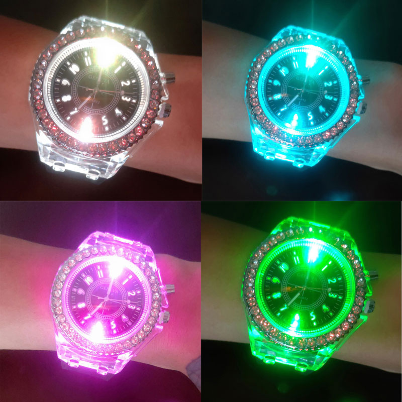 Hot Style  Luminous  Fashion  Colorful Flash Children's Watches The Led Silicone Kids Watches