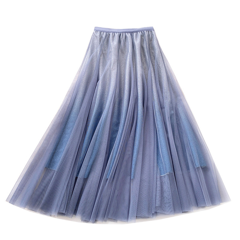 LANMREM 2020 NEW Spring And Summer A-line Double Multi-layer Mesh Halfbody Skirt Wholesales  High Waist WL08005