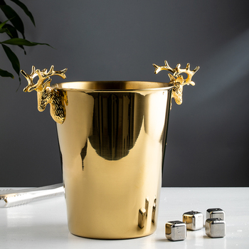 Personality Golden stainless steel Ice bucket Light luxury antlers Home wine champagne bucket Ice bucket Home Decoration фото