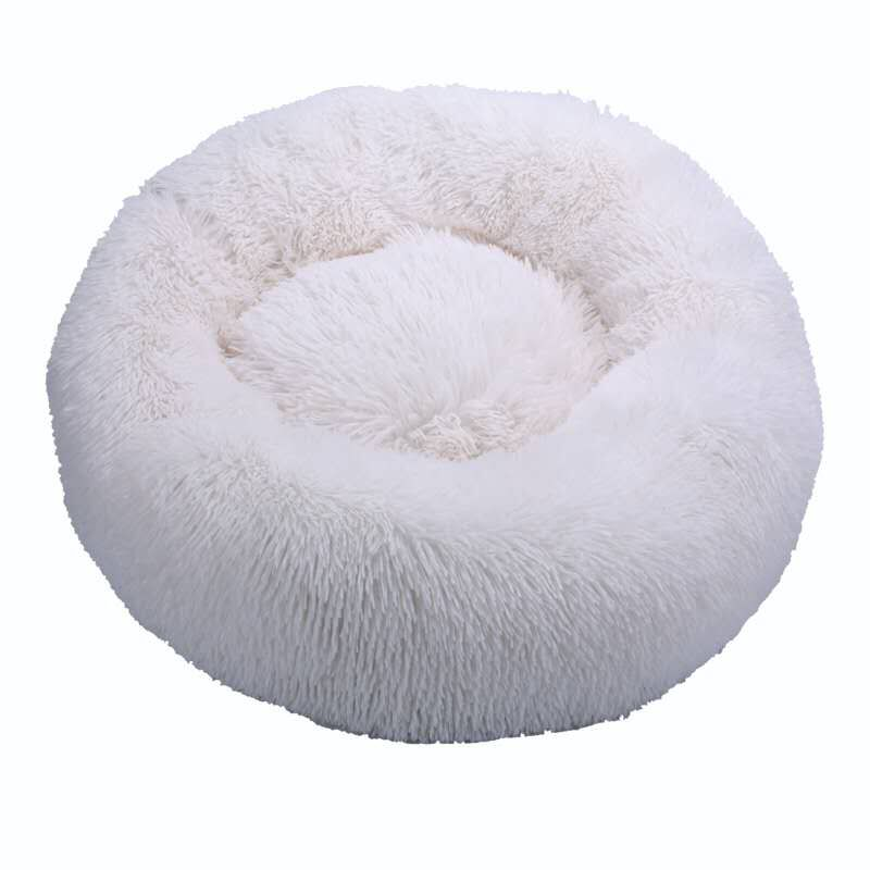 White-Round Cat Beds House Soft Long Plush Best Pet Dog Bed For Dogs Basket Pet