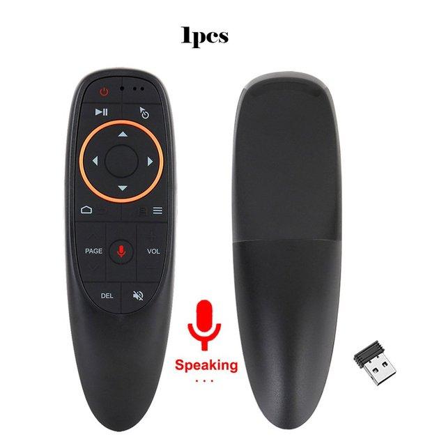 Voix télécommande 2.4G sans fil Air souris Microphone Gyroscope IR apprentissage pour Android TV Box T9 H96