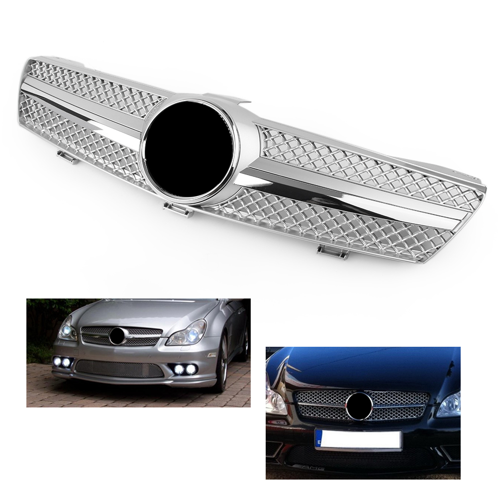 Front Racing Grille Grill For Mercedes Benz <font><b>W219</b></font> <font><b>CLS</b></font> Class C219 CLS500 SLS600 2004 2005 2006 2007 ABS Chrome Car <font><b>Accessories</b></font> image