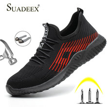 SUADEEX Breathable Safety Work Shoes For Men Female Steel Toe Cap Boots Construction Anti-Smashing