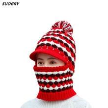 купить Winter Plush Women's Knitted Hat Set Knitted Hats and Scarf Female Warm Wool Caps Neck Warmer For Women Skullies Beanies Collar дешево