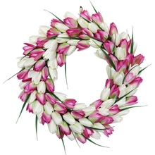 Artificial Tulip Wreath Springtime Wreath for Front Door Window Wall Party Wedding Valentines Day Hanging Decorations