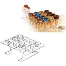 1pc Ice Cream Display Storage Rack Ice Cream Cone Holder Stand 16 Cavities for Home Shop Silver