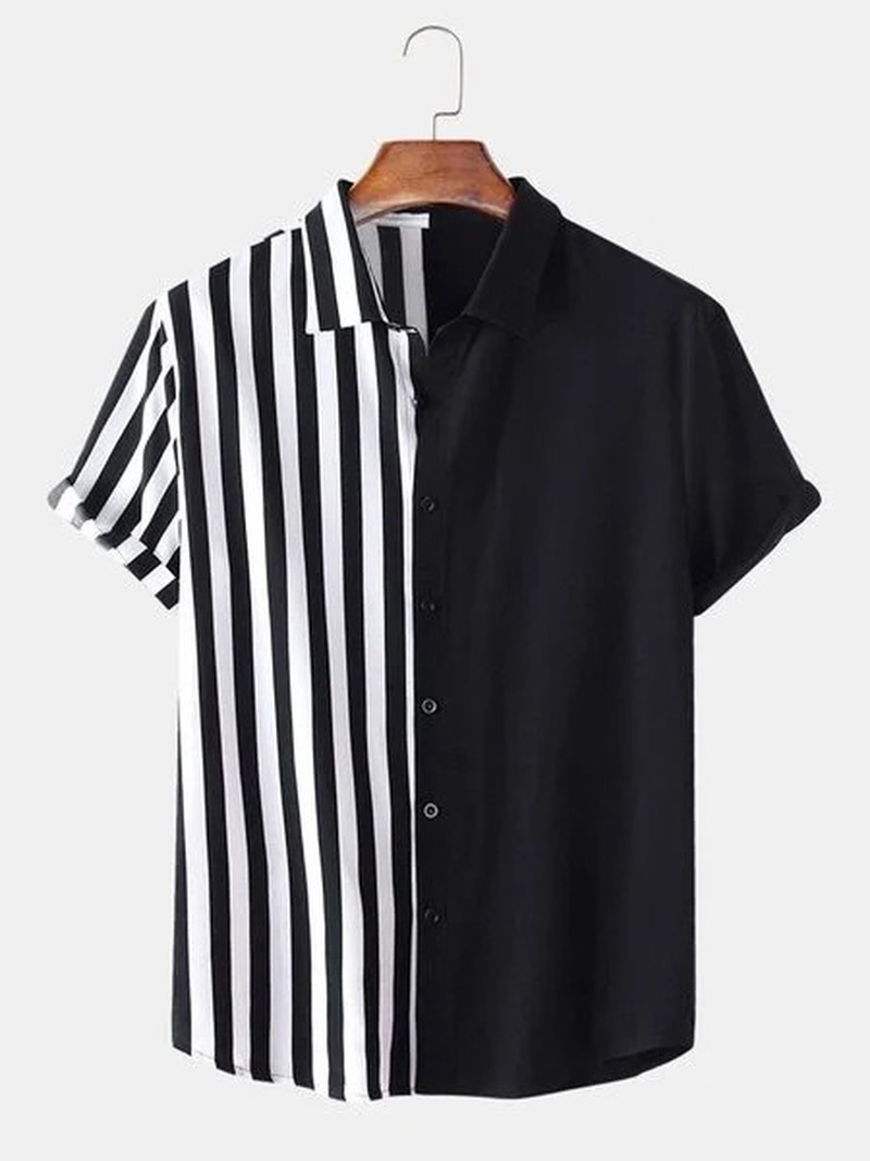 Mens Clothing 2021 Summer New Men's Short-sleeved Shirt Black and White Stripes Fashion Simple Camisas Para Hombre