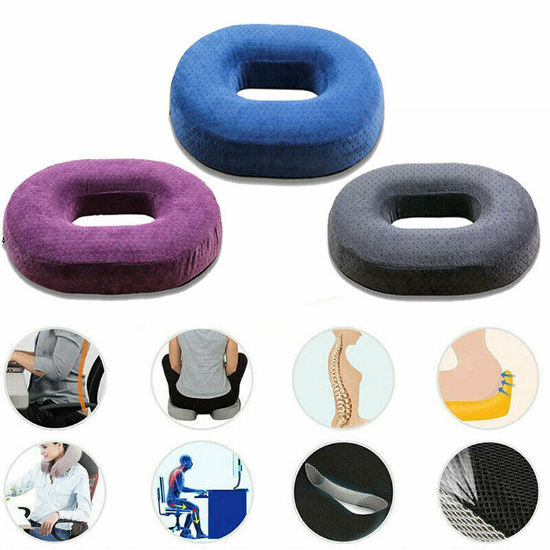 Memory Foam Donut Cushion Seat Support Car Office Chair Travel Pillow Purple