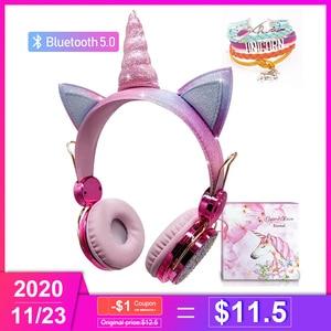 Wireless Bluetooth headphones Kids Headset Cartoon Unicorn Headphones Microphone Cascos Gaming Handsfree Calling Auricularesgift