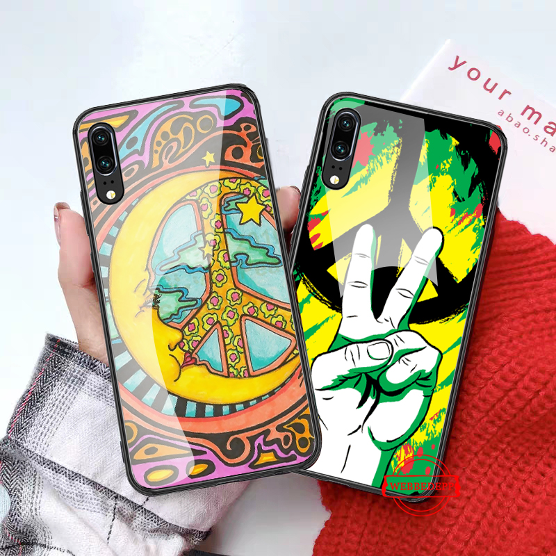 WEBBEDEPP Hippy Hippie Psychedelic Art Glass Case for Huawei P10 lite P20 Pro P30 P Smart honor 7A 8X 9 10 Y6 Mate 20 in Fitted Cases from Cellphones Telecommunications
