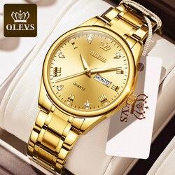 2020 OLEVS Quartz Watches Mens Top Brand Luxury Gold Stainless Steel Date Watch For Men Fashion Wrist Watches Relogio Masculino
