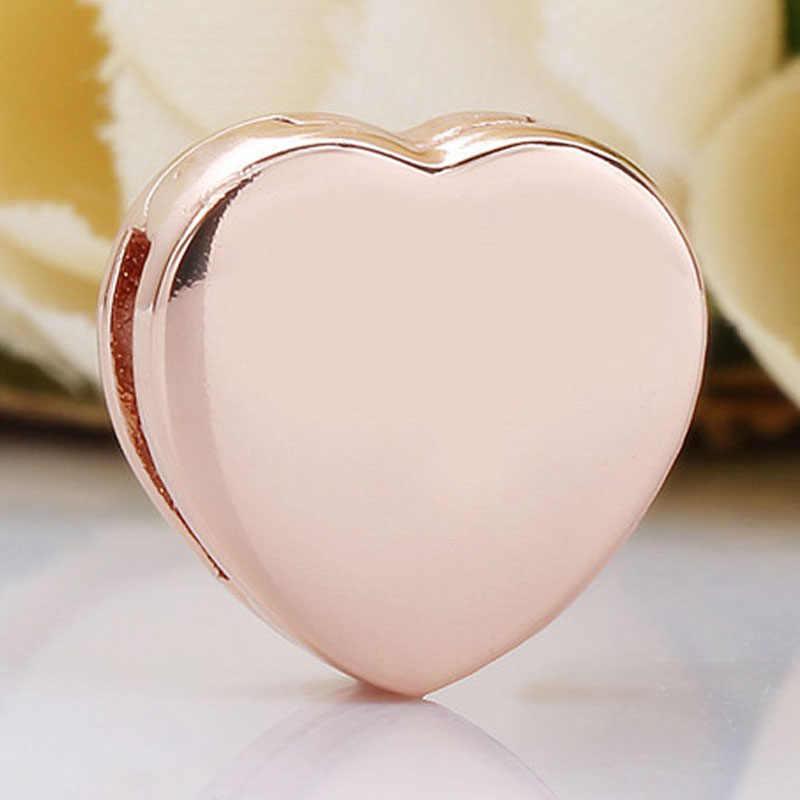 Oryginalne różowe złoto refleksje gładka miłość serce klips zatrzask koraliki Fit 925 srebrny koralik Charm bransoletka pandora Diy biżuteria