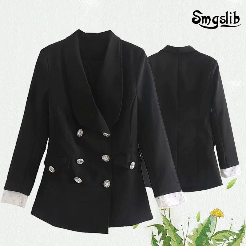 Vintage women jacket patchwork diamonds black suit 2020 fashion ladies double breasted elegant coat female feminine outerwear