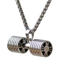 Stainless Steel Dumbbell Necklaces Pendants Men Fitness Barbell CrossFit Charm Necklace Men Gym Jewelry Christmas Gift titanium stainless steel fitness gym necklace weight plate barbell dumbbell weightlifting bodybuilding crossfit exercise jewelry