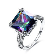 Sterling Silver Jewelry Cushion Colorful Zircon Diamond Engagement Ring Female Luxury Retro Design S925 Ring Gemstone with Box(China)