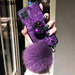 Image 1 - KONSMART Fashion Phone Case Reno 4 Lite Luxury Glitter Marble Silicone Soft Ring Back Cover For OPPO Reno 4lite Case With Strap