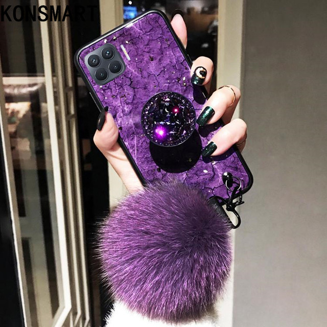 KONSMART Fashion Phone Case Reno 4 Lite Luxury Glitter Marble Silicone Soft Ring Back Cover For OPPO Reno 4lite Case With Strap