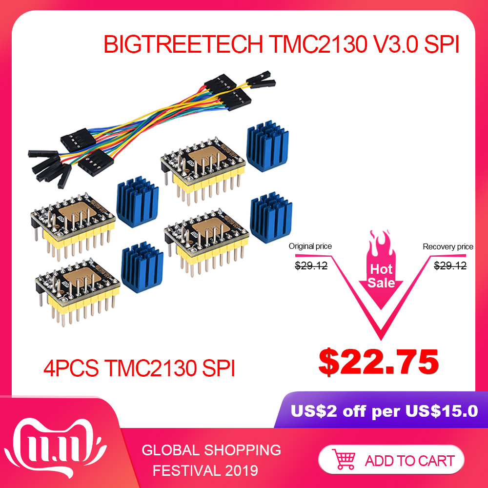 BIGTREETECH TMC2130 V3.0 SPI Stepper Motor Driver 3D Printer Parts TMC2208 TMC2209 A4988 For SKR V1.3 Board MKS Ramps 1.4 CR10