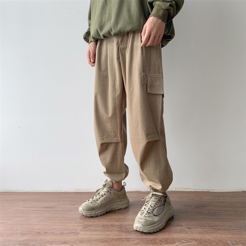 Autumn Men's Retro Corduroy Fabric Thickening Trousers Leisure Cotton Casual Pants Trousers Hip Hop Pure Color Sweatpants M-2XL