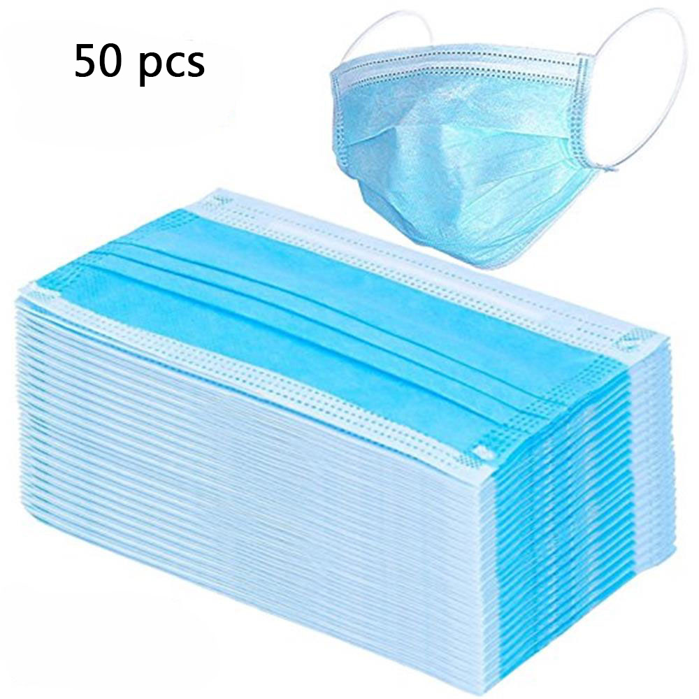 50pcs Disposable Non Woven Mask Three layer Filter For Unisex  Anti dust Mouth Nose Mask Ear Hanging Safe proof face mouth maskWomens  Masks