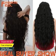 FASHION IDOL perruque synthétique Deep Wave ondulée très longue, noire, Blonde, Ombre, 38 pouces, perruque synthétique pour femmes noires