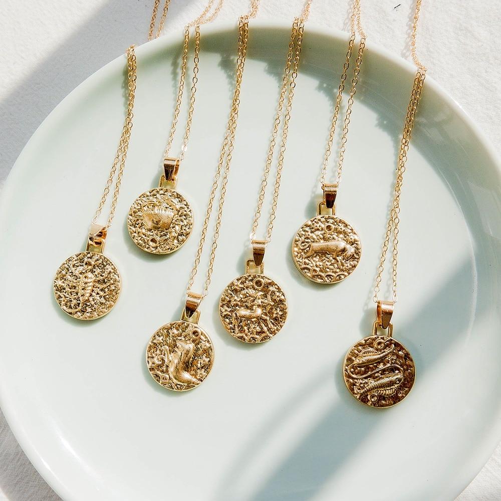 Gold Color 12 Constellation Coins Necklaces & Pendants Women Virgo Taurus Leo Short Chain Necklace Girls Gemini Celestial A376