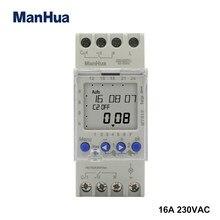 Manhua mt812 (ahc812) 2 canal 16a multi função semanal programável trilho din lcd digital interruptor de tempo