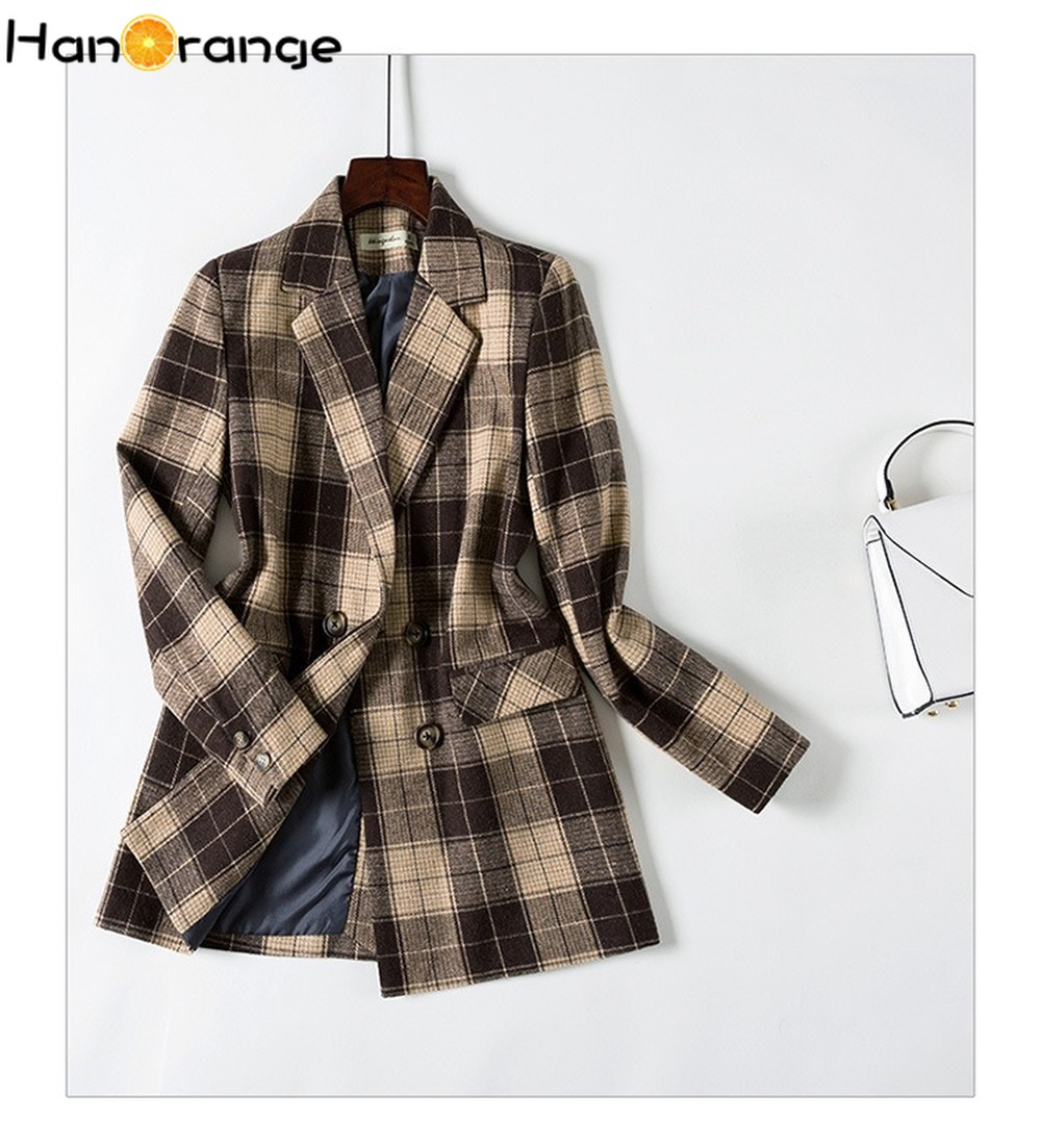 Double Breasted Retro Plaid Suit Coat 2019 Autumn Winter Loose Leisure Temperament Fashion Lady Long Blazer Jacket