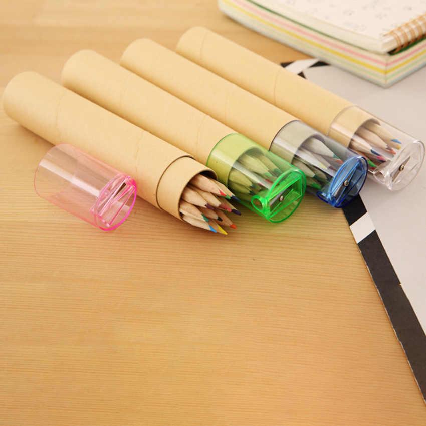 12 צבע/סט עץ צבעוני עיפרון עם עיפרון מחדד נייד חבית ציור הדפסה בצבע עופרת מכתבים למשרד