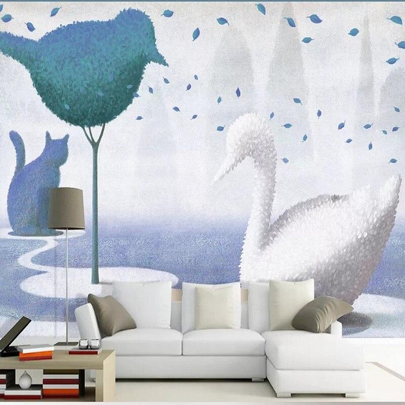 Custom Large Mural 3D Wallpaper Nordic Cartoon Fashion Creative Swan Child Bedroom Mural TV Back Wall Decor Deep 5D Embossed