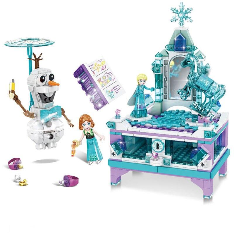 Legoings Friends Modular Creator Fairy Princess Queen Elsa's Jewellery Box Building Blocks Female Model Kits Toys 41168 41169