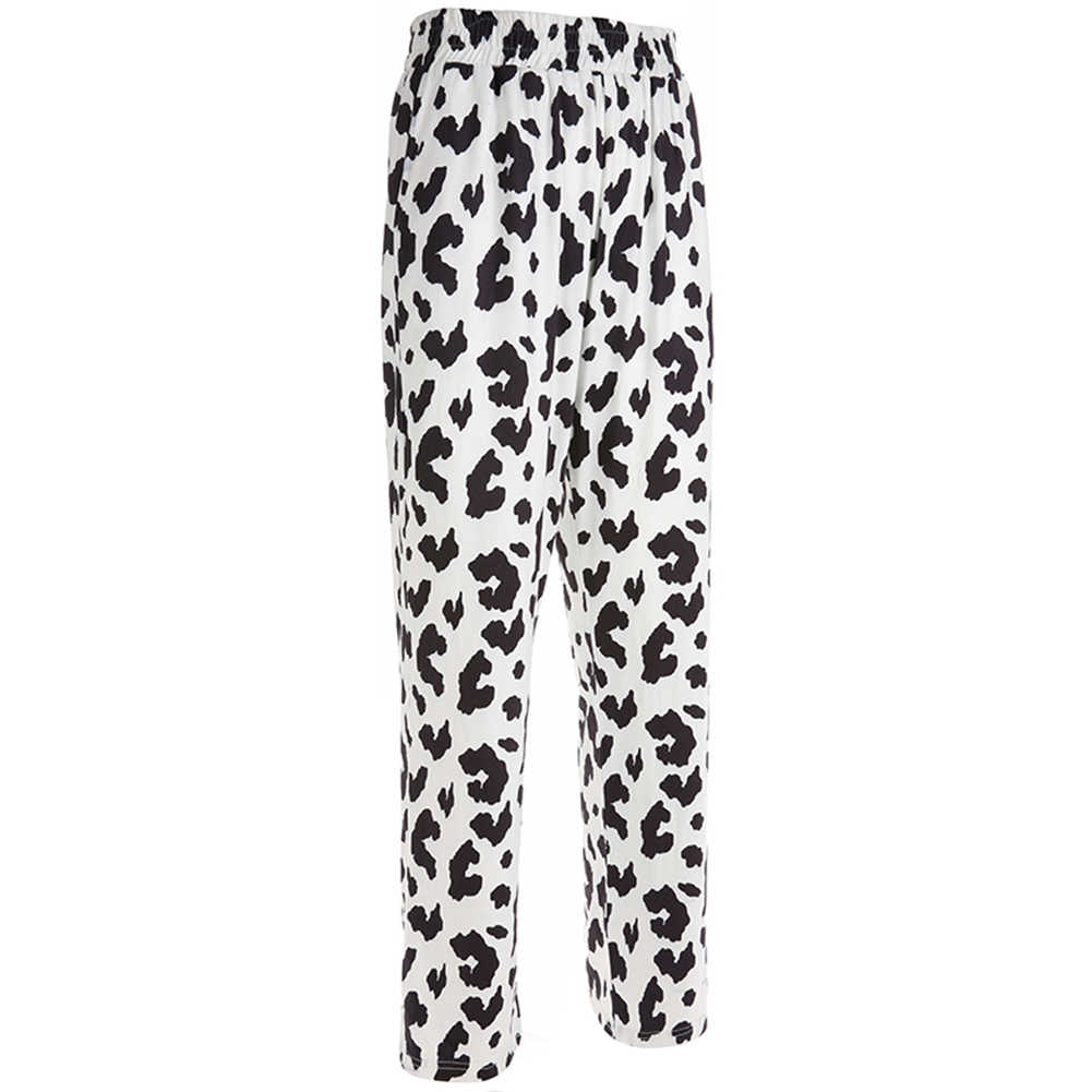 Новые женские весенние прямые свободные модные брюки, женские повседневные эластичные брюки с высокой талией, штаны с принтом коровы, Pantalon Femme