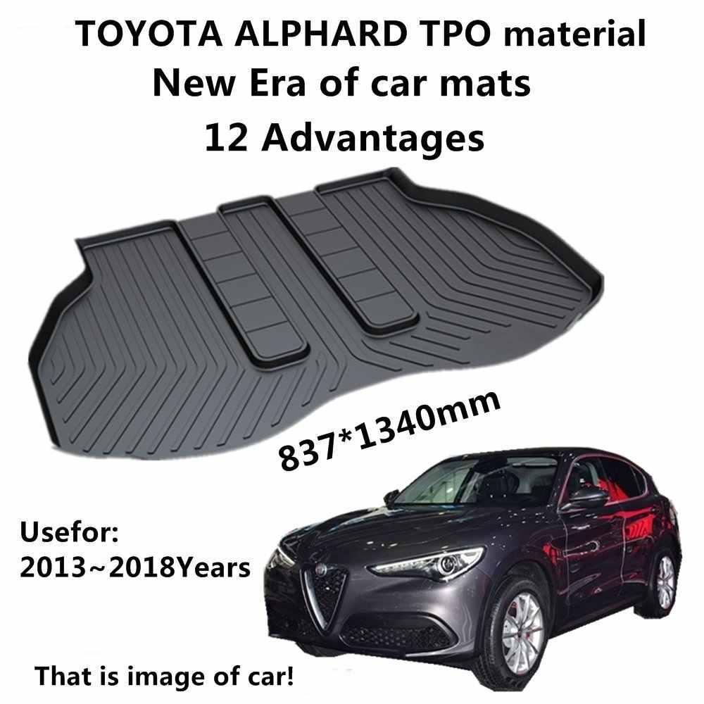 SJ สภาพอากาศทั้งหมด TPO รถ Trunk Mats หาง Boot Cargo Liner Cover ด้านหลังถาดกระเป๋าเดินทางสำหรับ Toyota ALPHARD 2013 2014 2015-2018