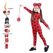 Collar con pendientes de mariquita para niñas disfraces de Halloween, mariquita, peluca, bolsa de Navidad