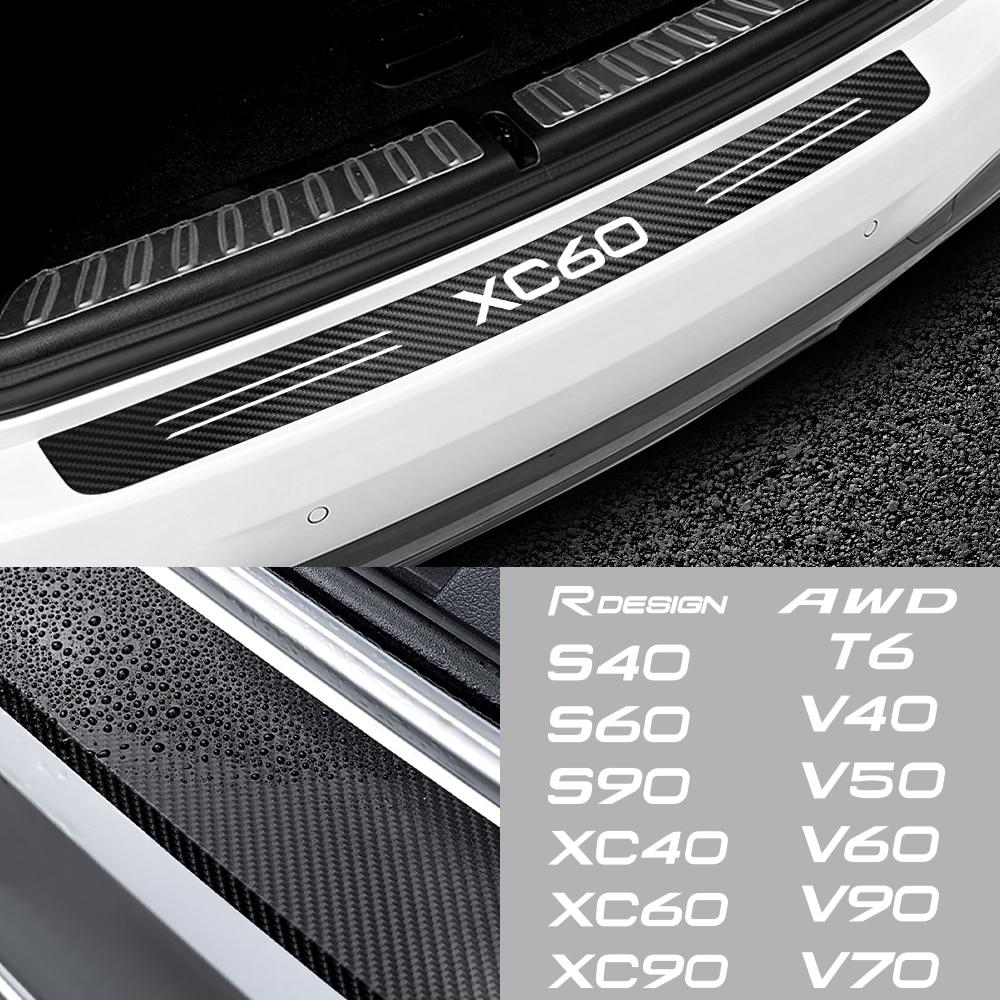 Автомобильный задний бампер, багажник из углеродного волокна, Защитная Наклейка для Volvo Rdesign T6 AWD S40 S60 S90 XC40 XC 60 XC90 V40 V50 V60 V70 V90