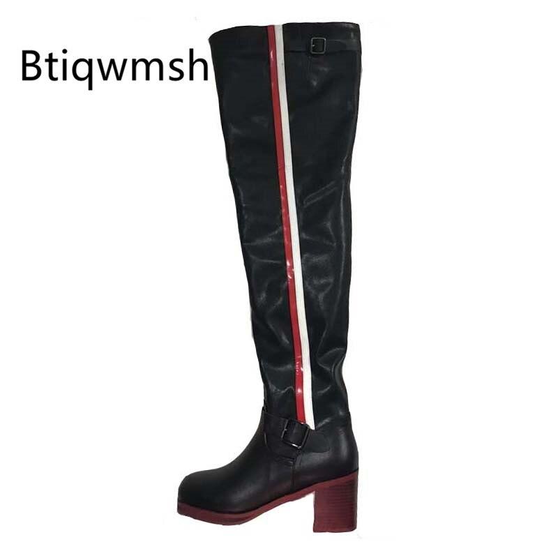 2019 bottes en cuir noir sur le genou femme couleur mixte boucle en métal bottes à talons hauts femme bottes de chevalier de mode-in Cuissardes from Chaussures    1