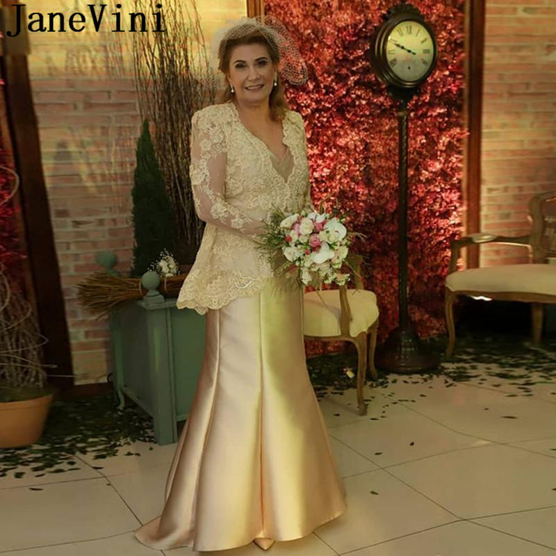 JaneVini Elegant Champagne Lace Long Sleeves Mother Of The Bride Dresses 2020 Plus Size Satin Mermaid Godmother Party Gown Madre
