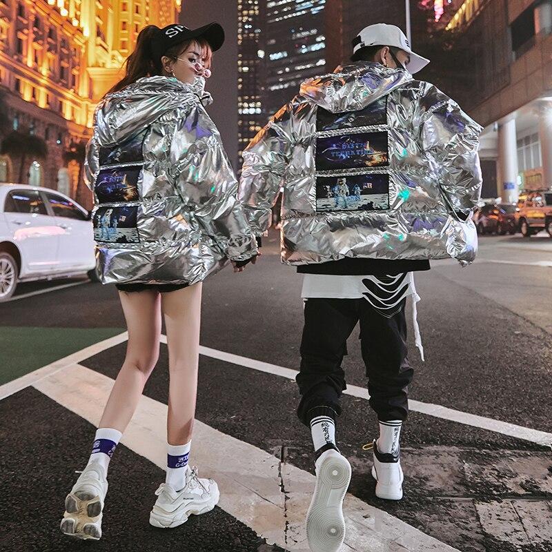 Fashion 2020 Designer Original Mens Winter Jacket Bright Winter Coat Men Hooded Cotton Clothing Hip Hop Streetwear for Couple