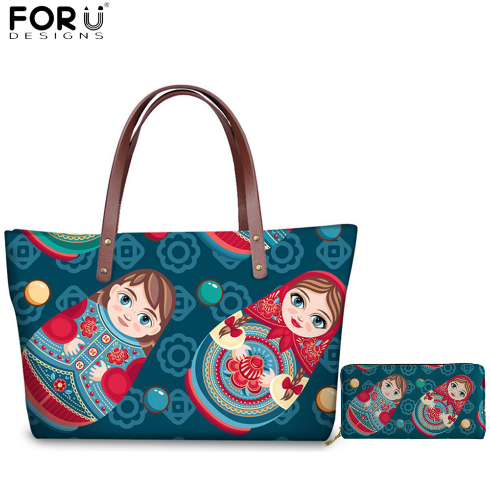 FORUDESIGNS Russian Doll Print Kawaii Handbags Teenager Girls 2pcs/set Large Top handle Bags Luxury Design Shoulder Bags Totes|Top-Handle Bags|   - AliExpress