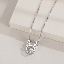 Fashion S925 Sterling Silver Necklace Pendant Antler Pendant Female Chain Gift Cute Romantic Sterling Silver Jewelry bamoer fashion genuine 925 sterling silver cute pet pussy cat chain pendant necklace for women sterling silver jewelry scn232