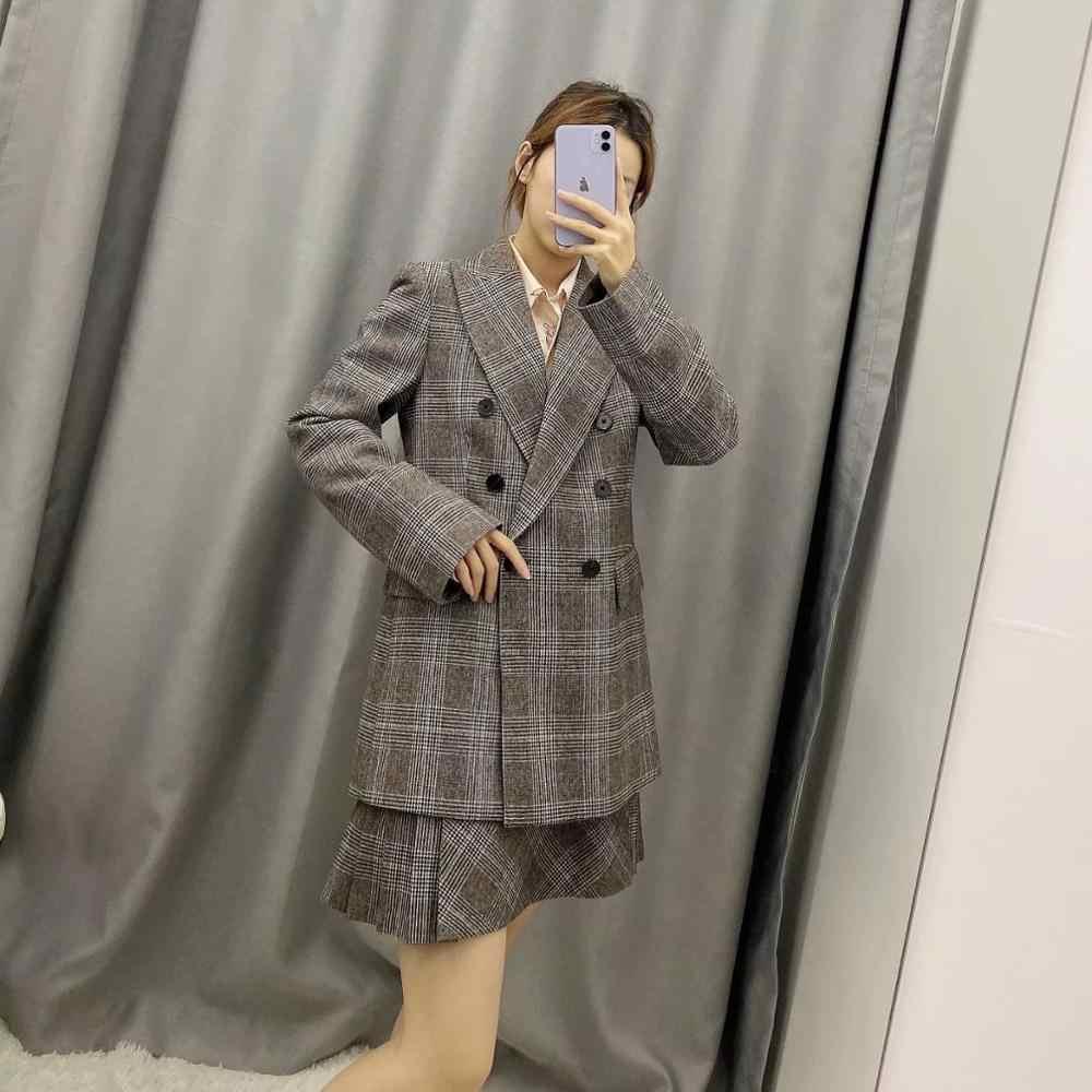 Za 2020 Nieuwe Pakken Vrouwen Tweedelige Set Grijs Plaid Jas Blazer & Mini Geplooide Rok Vrouwelijke Vrouw Casual Mode kantoor Dame Kleding