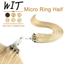 WIT Pre Bonded Micro Ring Hair Extensions Human Hair Cold Fusion Invisible Microbeads Brazilian Straight Machine Made Remy 1G/1S