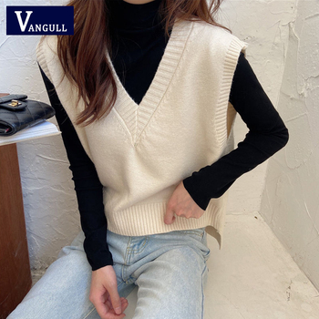 Vangull Women's Fashion Solid V-Neck Knitted Vest Loose Casual Sweet Sleeveless Pullover Sweater 2020 Soft Spring Autumn Tops