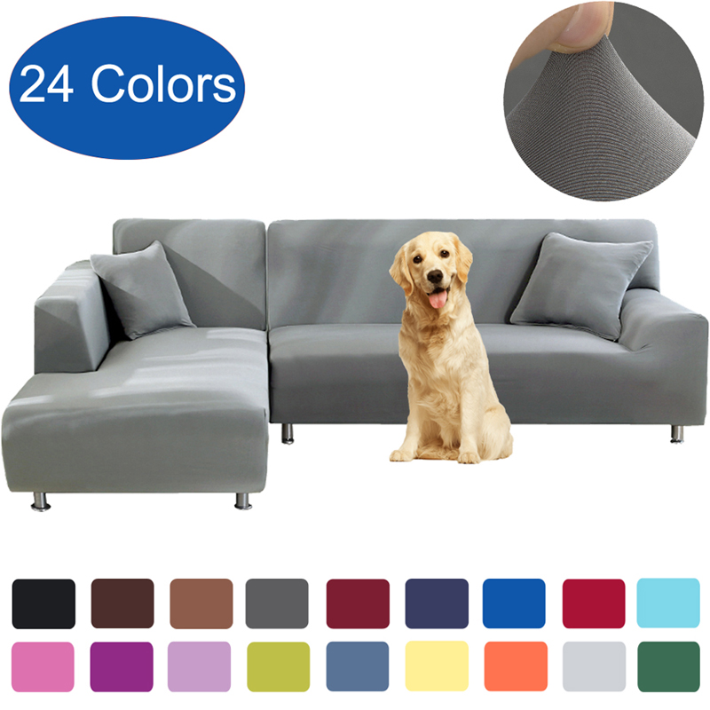 New Solid Color Corner Sofa Covers For Living Room Set Elastic Sofa Cover L Shaped Stretch Furniture Protector 1 2 3 4 Seat Pet