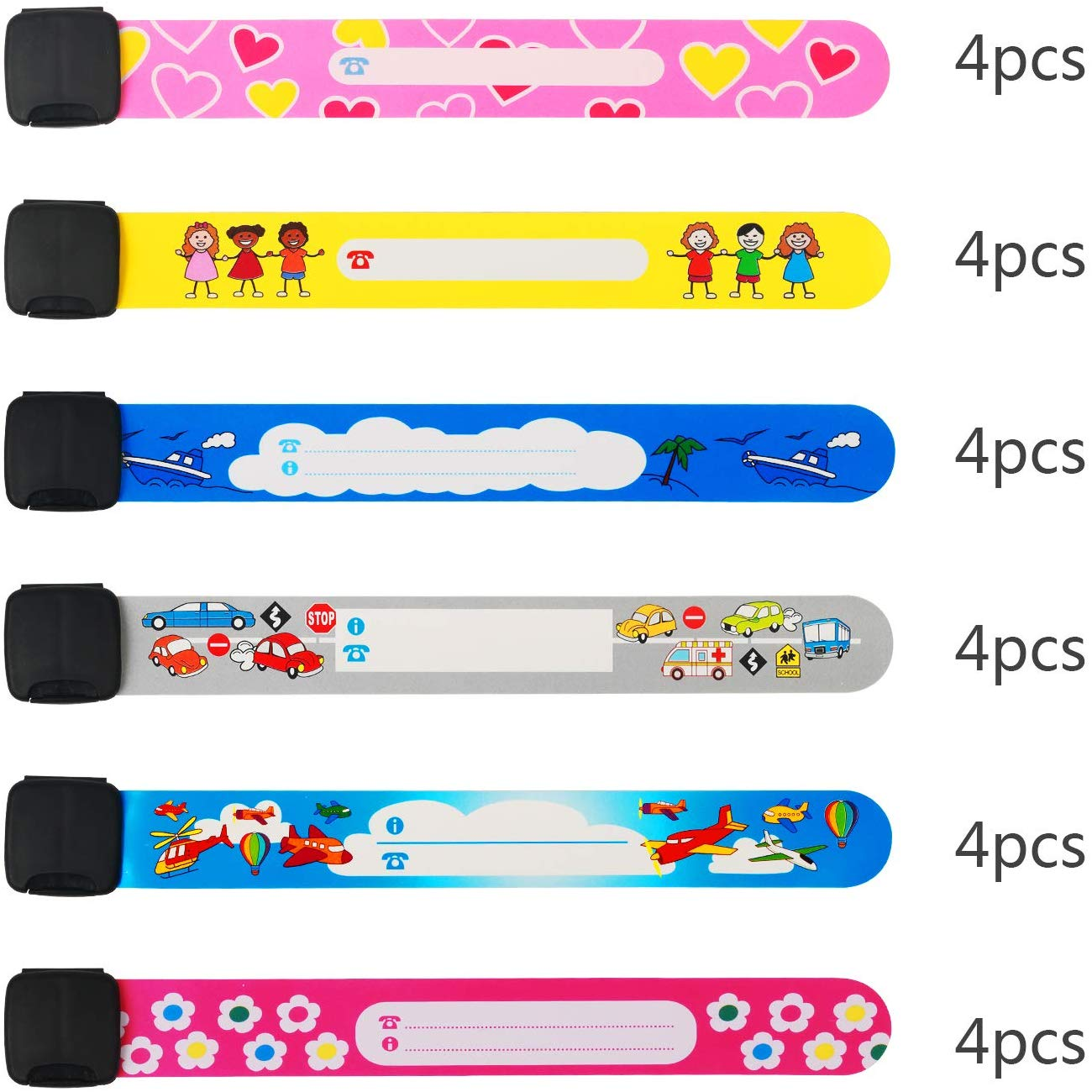 Metable 24 PCS Child Waterproof Emergency Bracelet Wrist Name Bands For Kids Baby Anti Lost Travel Event Outdoor Activity